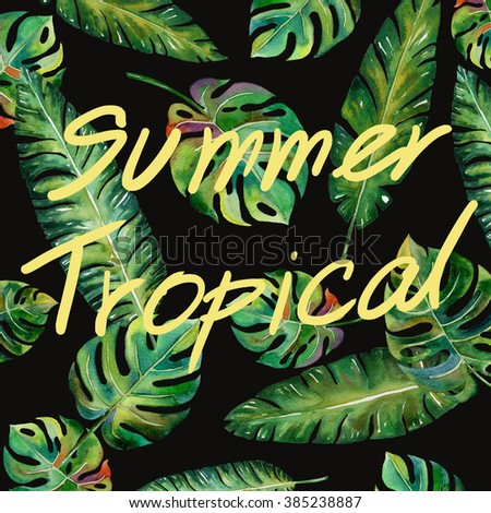 tropical Split Leaves and banana leaves plant tropical forest watercolor print spring summer hawaii painting pattern on black  background illustration - stock photo