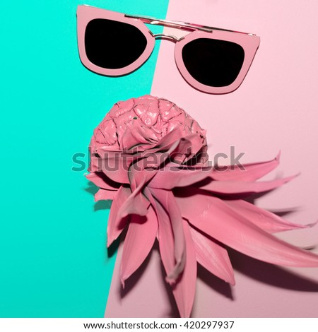 Tropical Summer. Fashion Accessories. Pink Sunglasses. Be Vanilla Lady - stock photo
