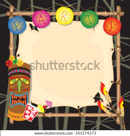 Tropical summer tiki or luau party with lanterns, tiki head, tiki torches and bamboo frame. - stock photo