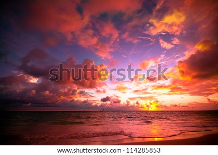 Tropical sunrise - stock photo