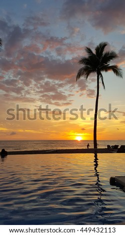 Tropical sunset in Puerto Vallarta Mexico showing silhouette and reflection of palm tree in the water and reddish clouds and golden sky with beach view. A relaxing summer vacation. - stock photo
