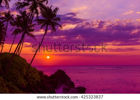 Tropical sunset over the ocean with coconut palm tree silhouettes at tranquil summer beach on island resort - stock photo