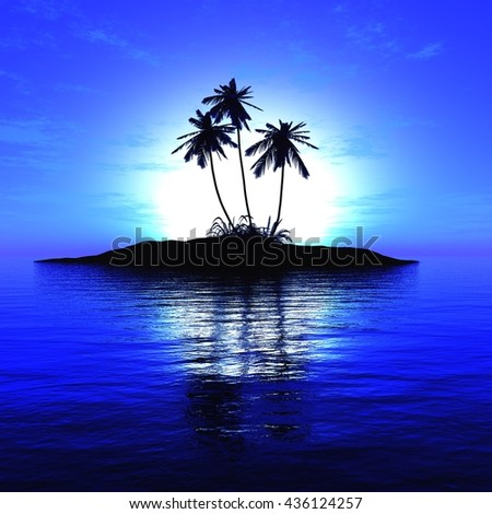 tropical sunset, palm trees on the island, 3D rendering - stock photo