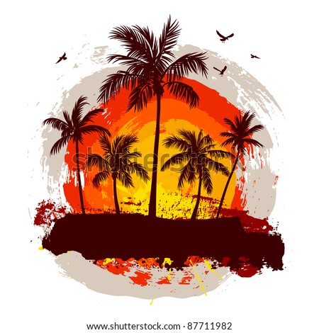Tropical sunset. Rasterized version. - stock photo