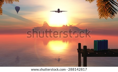 tropical sunset, suitcase and different types of transport - stock photo