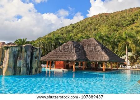 tropical swimming pool - stock photo