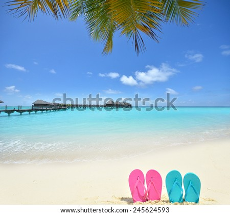 Tropical vacation concept -- Colored sandals on the tropical beach - stock photo