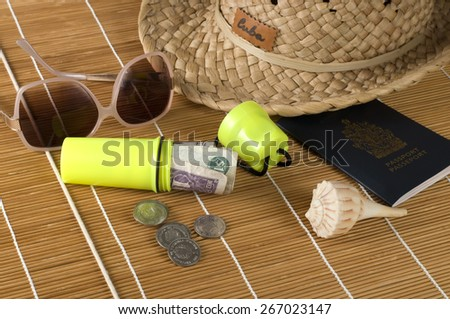 Tropical Vacation Money Holder and Daily Accessories - stock photo