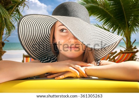 Tropical vacations. Young woman. - stock photo