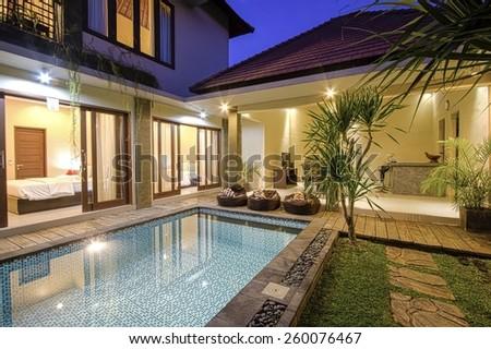 Tropical Villa. Bali island. Indonesia. - stock photo