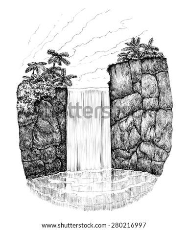Tropical waterfall in rocks ink drawing - stock photo