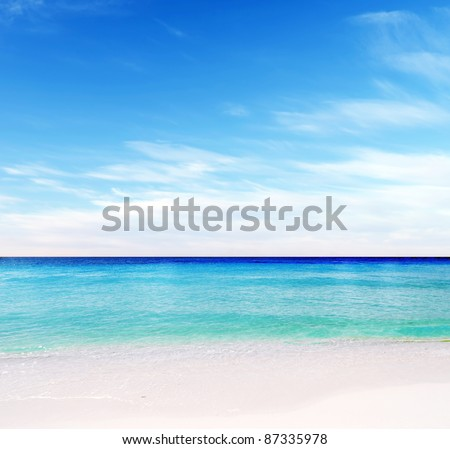 Tropical white sand beach and blue sky. - stock photo