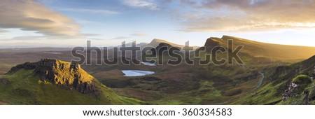 Trotternish Ridge from the Quiraing, Isle of Skye - stock photo