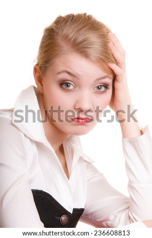 Troubles in business work. Pensive thoughtful young woman. Overworked businesswoman isolated on white. - stock photo