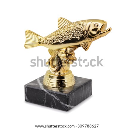 Trout fishing trophy isolated on white - stock photo