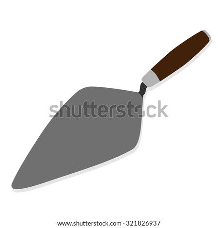 Trowel, building trowel, building tool, construction tool, building tool isolated - stock photo