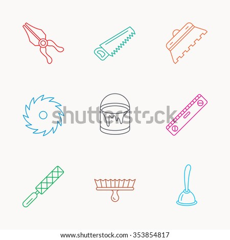Trowel for tile, saw and brush tool icons. Level and file tool, bucket of paint linear signs. Plunger, pliers icons. Linear colored icons. - stock photo