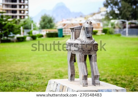 Troy horse copy in mini-city park, Turkey - stock photo