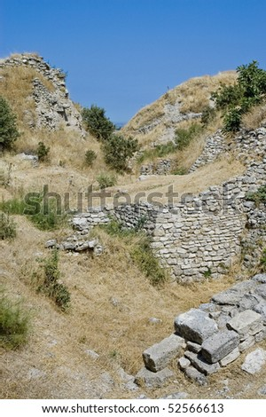 Troy ruins near Canakkale, Turkey - stock photo