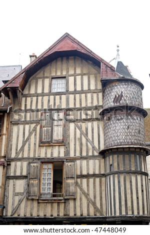 Troyes (Aube, Champagne-Ardenne, France) - Ancient half-timbered house - stock photo