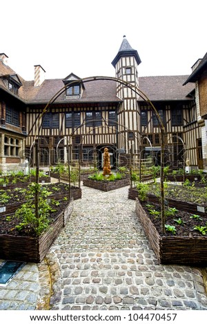 Troyes (Aube, Champagne-Ardenne, France) - Court of medieval palace - stock photo