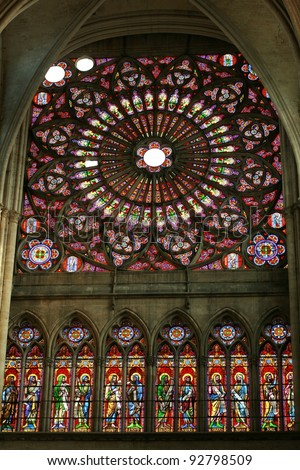 Troyes (Aube, Champagne-Ardenne, France) - Interior of the ancient cathedral, in gothic style, rose window - stock photo