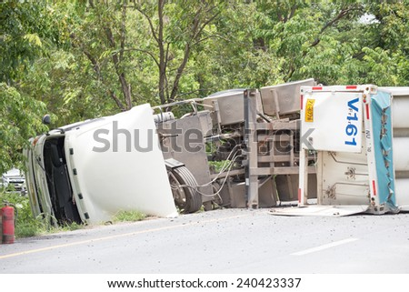 truck accident  on road,Thailand on 25 june,2014 - stock photo