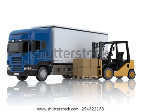 Truck and forklift with boxes. 3d render isolated on white background - stock photo