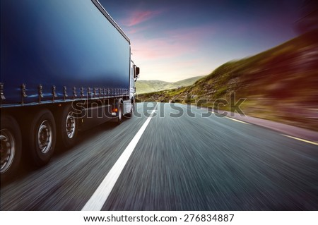 Truck and Skyline - stock photo