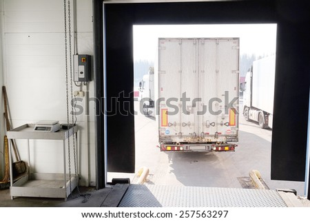 Truck are loaded at the warehouse - stock photo
