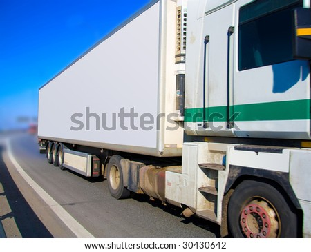 Truck closing in - stock photo