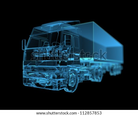Truck (3D xray blue transparent) - stock photo