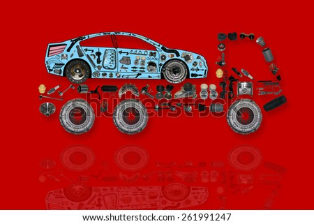 Truck delivers the car to the service maintenance. - stock photo