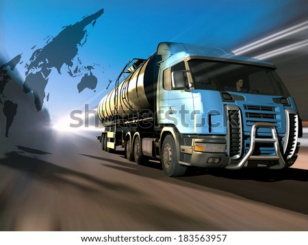 Truck driven by fuel on the road. - stock photo