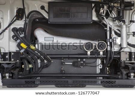 Truck engine close up - stock photo