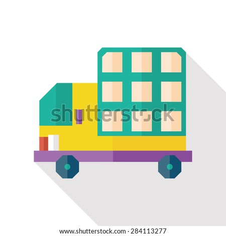 truck flat icon with long shadow - stock photo