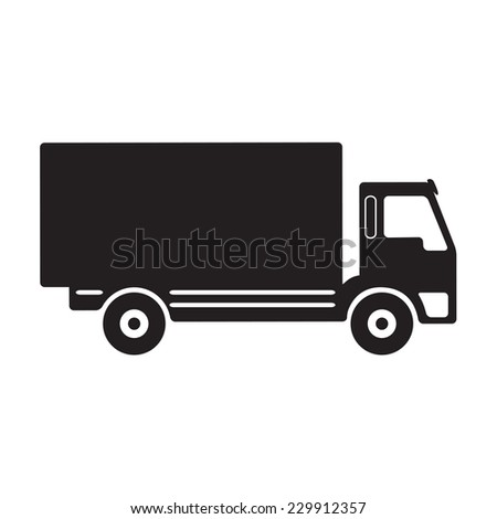 Truck icon or sign. Black lorry silhouette on white background. - stock photo