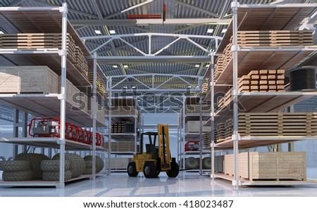 Truck in  hangar.3d render - stock photo