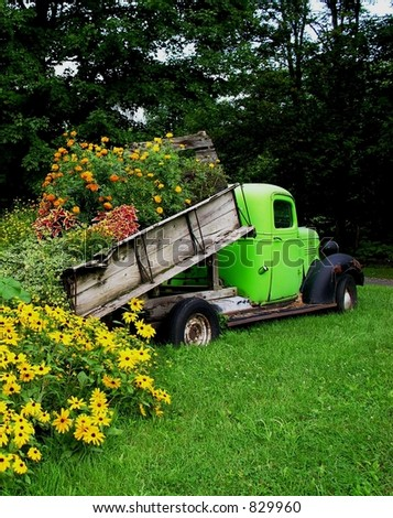 Truck load of flowers - stock photo