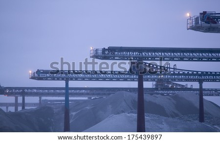 Truck moving limestone in a quarry on the island Gotland in Sweden.JH - stock photo