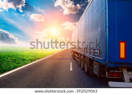 truck on a highway - stock photo