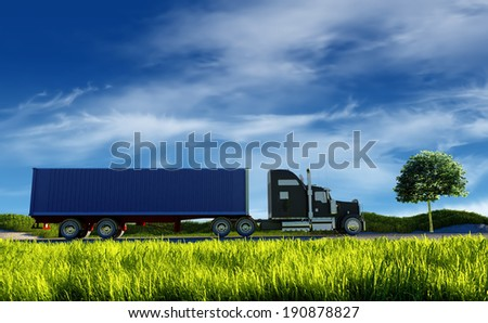 Truck on background of blue sky. - stock photo