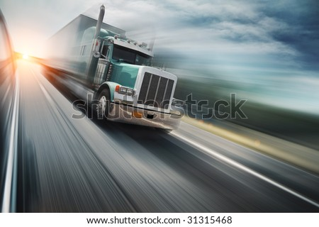 Truck on freeway - stock photo