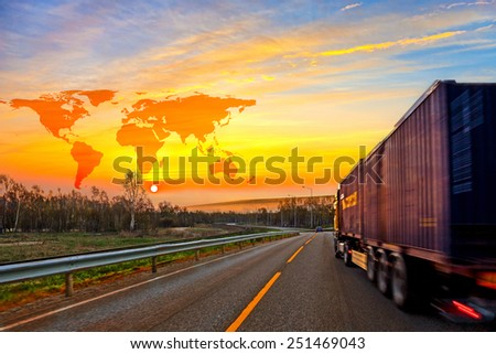 Truck on road and World map background - shipping travel concept. - stock photo