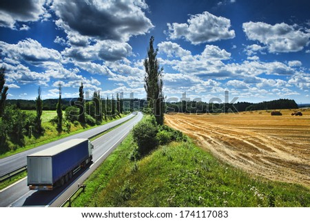 Truck on the road. - stock photo