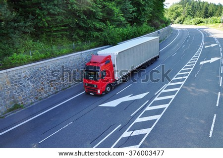 Truck shipment, carriage transport camion - stock photo