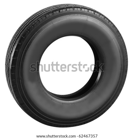 Truck tire. Isolated - stock photo