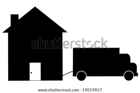 truck towing house away - foreclosure or moving - stock photo