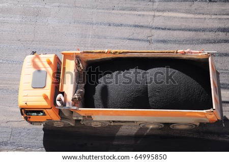 Truck transport to the site Ashvath - stock photo