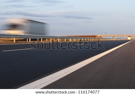 Truck traveling at highway. - stock photo
